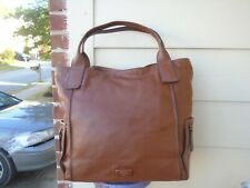 Authentic Fossil brown leather XL tote travel weekender bag
