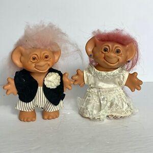 "Vintage Uneeda Wishnik Troll Doll Bride and Groom  6"""