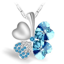 Four Leaf Clover Heart Shape Crystal Pendant 18K WhiteGold Plated Chain Necklace