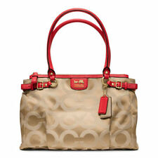 Coach CARRYALL Satchel Signature Tote Purse Khaki Brown Pink MADISON OP ART Nwt