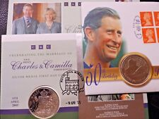 Prince Charles BU Commemorative Covers Coins Medallions PNC Camilla Some Silver