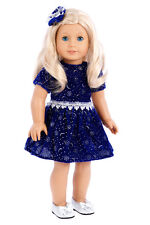 Midnight Blue - Doll Clothes for 18 inch American Girl, Party Dress Silver Shoes