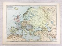 1894 Antique Map of Europe Political Geography European Empire 19th Century