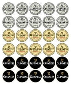 30x PERSONALISED OR MIXED GUINNESS EDIBLE  WAFER/RICE PAPER CUP CAKE TOPPERS