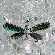 Silver Plated Abalone Paua Shell Dragonfly Pendant Necklace
