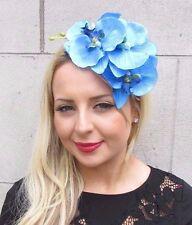 Cerulean Blue Orchid Flower Fascinator Headpiece Headband Hair Rockabilly 3308