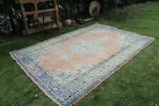 "Vintage Handmade Turkish  Distressed Oushak Area Rug 9'10""x6'1"""