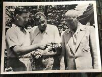 Babe Ruth & Tris Speaker with Sam Byrd Original 1947 Press Photo 8 x 10