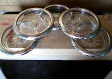 lot 5 SOUS VERRE (BOUTEILLE) plaqué argent silverplated coaster fete bar LEONARD