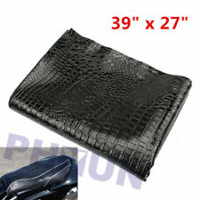 Black Pu Leather Moped Scooter Motorcycle Seat Cover Hide Alligator Skin Style (Fits: Yamaha)