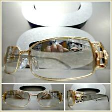 Modern Contemporary UPSCALE LUXURY Fashion Clear Lens SUNGLASSES Rose Gold Frame