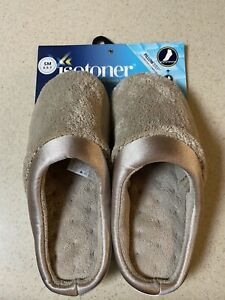 ISOTONER WOMENS SLIPPERS TAUPE SZ S 6 1/2-7 PILLOW STEP ENHANCED HEEL CUSHION