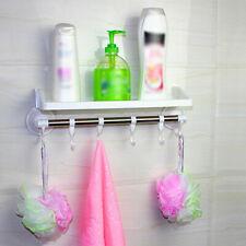 Kitchen Bathroom Wall Mounted Suction Cup Rack Holder Hooks Organiser Shelf Hot