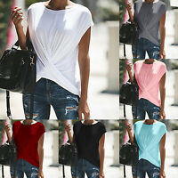 Plus Size Women Short Sleeve T-Shirts Tops Casual Summer Fitted Blouse Basic Tee