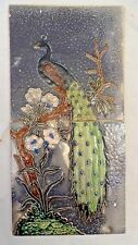 TILE PEACOCK ON TREE VINTAGE CERAMIC ART NOUVEAU DECORATIVE RARE 2 PIECE SET#284