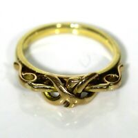 Unusual Lover's Knot 9ct Yellow Gold Ring size G ~ US 3 1/2