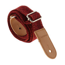 Ukulele Strap Belt with PU Leather Ends for Acoustic Electric Guitar -Red