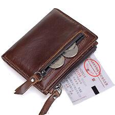 Brown Short Wallet Men's Vintage Genuine Leather Card Holder Coin Pocket Purse