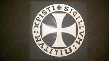 Templar Cross Sticker (High Tack White) Shipping $1 in US