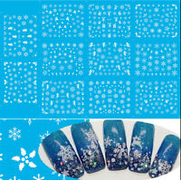BIG SHEET CHRISTMAS WHITE SNOWFLAKES & TREES 3D NAIL ART STICKERS DECALS TIPS
