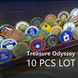 Featured Random Challenge Coin Lot 10 Pcs Multi Themes Police President Etc