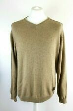 Fynch Hatton Mens Beige Merino Wool Blend V Neck Sweater Jumper Size L