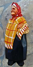 "NILS GUNNARSON'S SIGNED TRYGG CARVING ~WOODEN ~ 5"" YELLOW SHAWL WOMAN ~ SWEDEN"