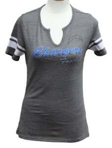 """Los Angeles Chargers Women's Majestic NFL """"Game Tradition 2"""" Tri-Blend T-shirt"""