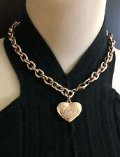 "16""~GUESS ROSE GOLD TONE CHARM  HEART LINK  NECKLACE~ LOGO ON THE HEART PENDANT"