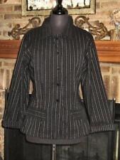 Lagenlook WILLOW Black Silver Pinstripe Blazer Jacket  L