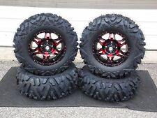 "27"" QUADKING 14"" HD7 RED ATV TIRE & WHEEL KIT LIFETIME WARRANTY IRSL5 BIGGHORN"