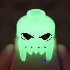 NEW Lego GLOW in DARK SKULL MINIFIG HEAD -Halloween Alien Skeleton Monster Fangs