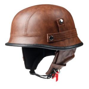 Half Face Leather Helmets Casco Moto Motorcycle German Motorbike Cruiser Replica