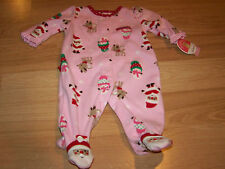 Infant Size 0-3 Months Pink Holiday Fleece Footed Sleeper Santa Deer Snowman New