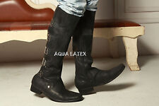Free shipping-Flat heel latex knee high men boots-0.8mm thicker EU37-45