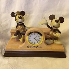 RARE Disney World Mickey & Minnie Mouse Clock Figurines Vintage w/ Wood Base