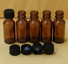 5 AMBER 1/2 oz 15 ml Clear Boston Round Glass Bottles With Black Cap FREE SHIP