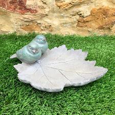 Resin Garden Two Birds On Maple Leaf Bird Bath Feeder Dish Sculpture Ornament