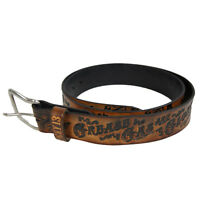 Authentic LUCKY 13 Grease Gas Glory Brown Embossed Leather Belt M L XL NEW
