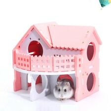 Wood Double Deck Guinea Pig Rat Hamster Nest Villa House Small Pet Cage Toy New