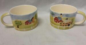 Herman Dodge & Son Coffee Mug: Homestead Collection, Set of 2, Tea Cup Farm Barn