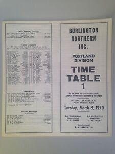 1970-1984 BN Burlington Northern Timetables: Portland, Seattle Regions
