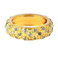 18k Solid Yellow Gold Engagement Band Ring 1.47ct Pave Diamond Women's Jewelry
