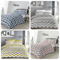 Fusion Chevron Stripe Duvet Cover Bedding Set Grey Ochre Blue Pink Reversible