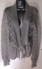 Coast Pale Grey Mohair & Wool Mix Ribbon Fastened Crochet Cardigan Size Small