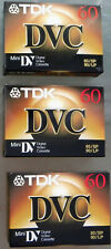 3 TDK DVC Blank Digital Video Cassettes 60 Minutes for MiniDV Recorders Sealed