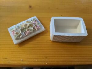 Small Ceramic Trinket Box With Detailed Flower Design Lid