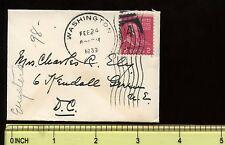 "US Mini-Cover  3 5/8"" x  2 5/8"" 1939 Washington DC to local"