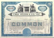 Stock certificate Chas. Pfizer & CO., Inc back with NY tax stamp 1956