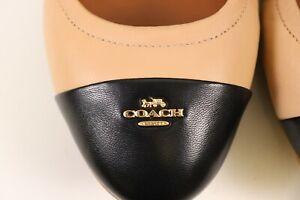 NIB $188 COACH Size 9 Women's Nude Pink Black Leather BONNIE Cap Toe Ballet